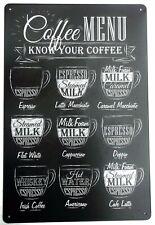 COFFEE MENU METAL TIN SIGNS vintage cafe pub bar garage decor