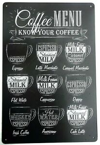 COFFEE MENU METAL TIN SIGNS vintage cafe pub bar garage decor retro