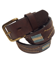 """Argentina"" Polo Belt - Brown - 100% Argentine Embroidered Leather"
