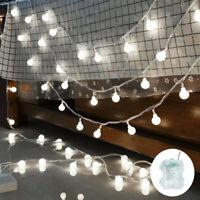 10M 100LED Globe Bulb Ball Fairy String Light Mains Powered Garden Outdoor White