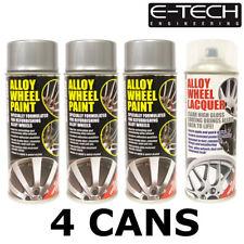E-Tech Metallic Silver and Lacquer Car Alloy Wheel Spray Paint - 4 Cans Total