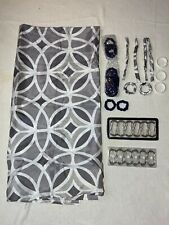 """NWOT Mainstays Shower Curtain & Accessories, Gray & White 70""""X70"""""""