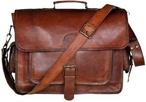15''Genuine Medium Messenger Laptop Men's Cross Body Stylist Leather Vintage Bag