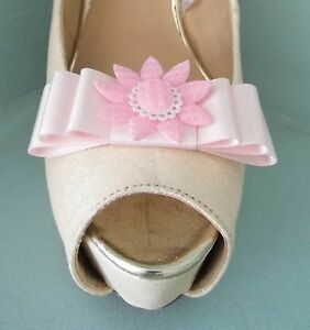 2 Handmade Baby Pink Bow Shoe Clips with Crochet Style Flower Centre