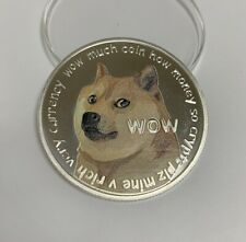 DOGE Dogecoin Crypto Currency   Silver Plated Colorized Printed Coin   BITCOIN