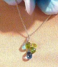 "14k gold necklace blue topaz peridot aquamarine briolette cluster pendant 16"""