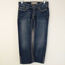 BKE Buckle Women's Starlight Jeans 26 Cropped Dark Wash Fading Raw Edge Low Rise