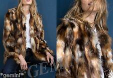 Zara Animal Print Faux Fur Jacket Coat Pelliccia Giacca Giacca di pelliccia CAPPOTTO PELLICCIA PELO SINTETICO
