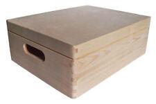 * Pine wood storage box wih lid 40x30x14cm DD169 memory case chest wooden (Z1)