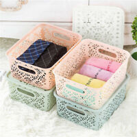 Large Lace Plastic Storage Basket Box with Lid Stackable Basket Container Boxes