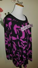 New Cato Women's Stretch Black Magenta Print Top 3/4 Sleeve Size L Large shirt