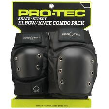 Protec STREET Skateboard KNEE AND ELBOW Pads SET BLACK MEDIUM
