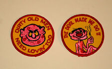 2 Vintage Campy Im Dirty Old Men Devil Made me Do it Patch New NOS 1970s slogan