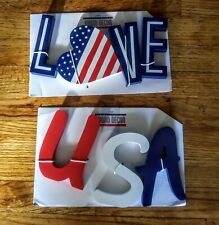 Patriotic Free Standing Letters / Heart. I LOVE USA New