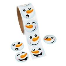 HAPPY SNOWMAN FACE Christmas Stickers Holiday Gift Wrap 1 ROLL (100 Stickers)