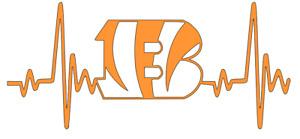 Cincinnati Bengals NFL Football Heartbeat Car/Laptop/Cup Sticker Decal