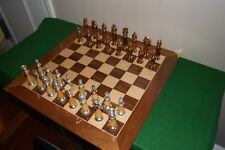 Cambor gold and silver plated Persian chess set, mahogany/maple with board