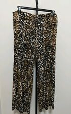 Chicos 3 Wide Leg Leopard Palazzo Brown Animal Print Pull On Stretch Pants