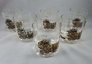 Vintage MCM Couroc Rocks Glasses Tumblers Gold King Cat Glasses - Set of 6