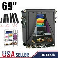 Portable Closet Wardrobe Clothes Shoe Rack Shelf Storage Organizer Gray USA