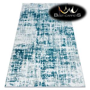 Modern Designer cheap Rug 'MEFE' Lines structural CREAM / BLUE Best carpet