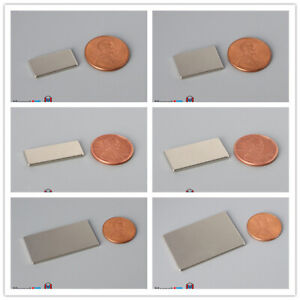 "Multiple Size 3/8"" 1/2"" Width 1/16"" Thickness Rare Earth Neodymium Block Magnet"