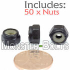 #8-32 NM - Qty 50 - Nylon Insert Hex Lock / Stop Nuts SAE - Steel w Black Oxide