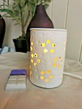 White Flowers Ceramic Electric Oil Burner Lamp FREE wax & globe