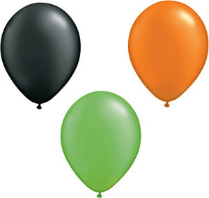 Halloween Balloons Lime, Black and Orange Party Balloons Air or Helium free Post
