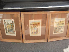 Antique/Vintage - Signed Leung Set of 3 French Watercolors - Carcassone, France