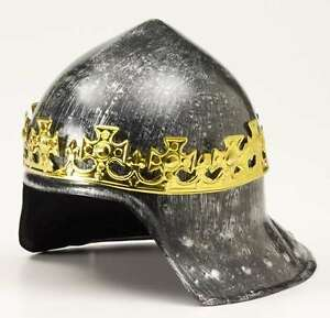 Medieval Knight Helmet Gray Brushed Metal Look With Gold Crown Attached