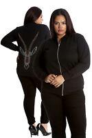New Ladies Plus Size Bomber Jacket Women Ram Stud Rhinestone Sale Polka Nouvelle