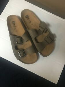 BioStep Birk Sandals Taupe Suede Leather Sliders Shoes Womens Sz 9,  10, NIB