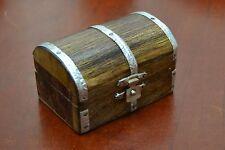CARVED TREASURE CHEST JEWELRY TRINKET WOOD BOX #F-391