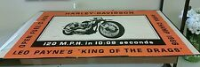 "HARLEY DAVIDSON Rare 1966 Leo Payne ""King of the Drags"" 55"" Poster Original EUC"