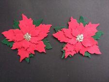 2 Flor de Pascua Fieltro Navidad dado corta. Adornos, tarjeta Topper, Corona