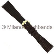 18mm Hirsch Genuine Lizard Unstitched Tapered Brown Ladies Watch Band SHORT
