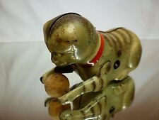 VINTAGE TIN TOY JOUSTRA FRANCE - CAT PLAYING with BALL - GOOD CONDITION