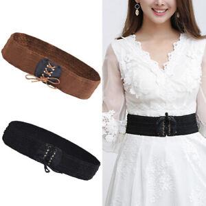 Retro Stretchy Lace Up Waist Corset Belt Women Wide Leather Dress Cinch Elastic
