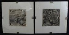2 pendants / gravures anciennes époque 18ème XVIIIe ou avant