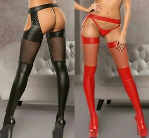 Sexy Suspender TIGHTS Vinyl Faux Leather Fetish Bondage Black Red Stockings 8-12