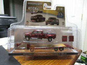 1/64 Greenlight 2018 Ford F-350 King Ranch with Gooseneck Trailer #51155-B