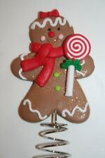 """NEW Mini GINGERBREAD MAN Christmas Tree Topper GIRL Candy Cookie SPARKLE 4.25"""""""