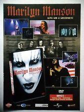 """PUBLICITE-ADVERTISING :  MARILYN MANSON  2002 pour la sortie de """"Guns God & Gove"""