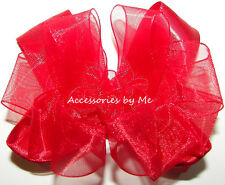 Red Hair Bow Organza Satin 3 Inches Toddler Baby Alligator Clip Pageant Party