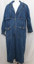 Vintage Together Denim Jean Button Up Duster Trench Coat Misses Women's 14