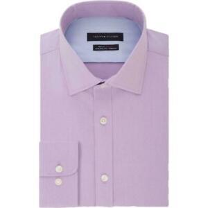 Tommy Hilfiger Mens Dress Shirt Purple Size 15 1/2  Athletic Fit Stretch $79 280