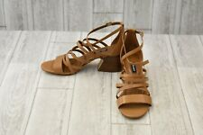 Nine West Youlo Strappy Block Sandal - Women's Size 10M, Dark Natural