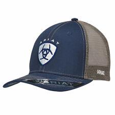3f342a408e3f1 Ariat Mens Hat Baseball Cap Mesh Back Snap Shield Logo Navy Blue 1595303