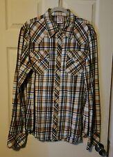 Men True Religion Plaid Flannel Western Shirt Button Up Size XXL *FITS AS XL